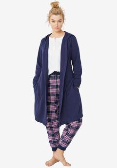 Hooded Fleece Robe by ellos®, NAVY