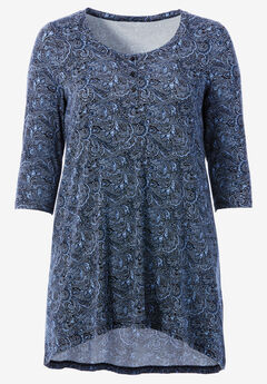 High/Low Henley Tunic by ellos®, BLACK BLUE PAISLEY PRINT