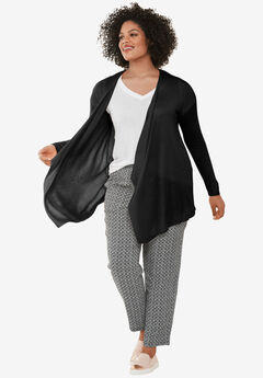 Draped Open Front Cardigan by ellos®, BLACK