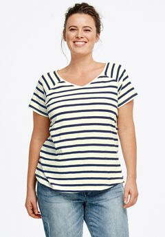 Rounded V-neck Tee by ellos®,