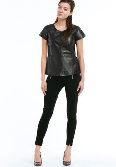 Back Zip Leather Top by ellos®, BLACK