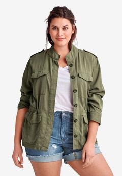 Drapey Military Jacket By Ellos®, DARK OLIVE GREEN