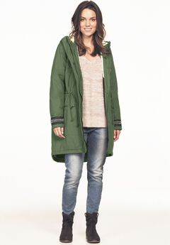 Beaded Sleeve Sherpa Trim Anorak by ellos®,