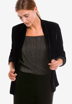 Stretch Velvet Open Blazer,