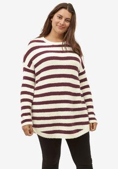 Striped Tunic Sweater by ellos®, IVORY DEEP WINE STRIPE