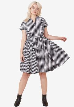 Sandy Shirtwaist Dress by ellos®, BLACK WHITE GINGHAM