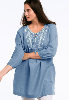 Embroidered 3/4 Sleeve Chambray Tunic by ellos®, CHAMBRAY BLUE