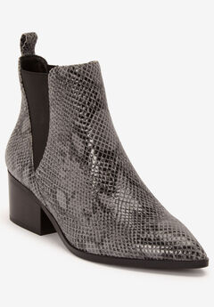 Pointed Toe Leather Bootie by ellos®,
