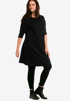 A-line French Terry Dress by ellos®, BLACK