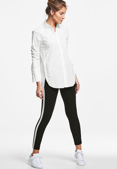 Side Stripe Ponte Leggings by ellos®, BLACK WHITE