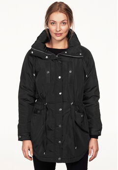 Funnel Neck Snap Anorak by ellos®, BLACK