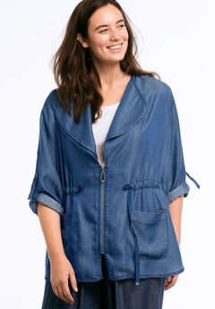 Zip Front Soft Tencel Denim Jacket by ellos®,
