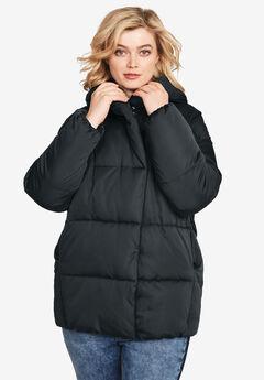 Shawl Collar Puffer Jacket by ellos®, BLACK