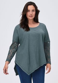 Point Hem Lace Sleeve Tunic by ellos®,