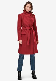 Wrap-Collar Wool-Blend Coat by ellos®, MAROON RED
