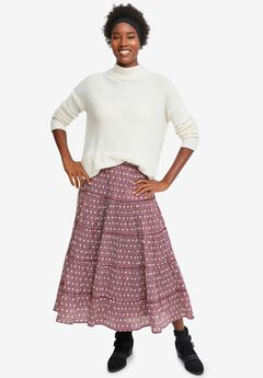 Tiered Print Skirt,