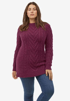 Pullover Cable Sweater Tunic by ellos®, MIDNIGHT BERRY