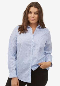 Button Down Shirt by ellos®, BLUE FLORAL STRIPE