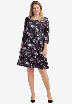 Madison A-Line Dress by ellos®, SEASIDE PINK FLORAL PRINT