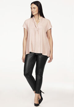 Faux Leather Front Ponte Leggings by ellos®, BLACK