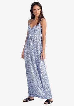Knit Surplice Maxi Dress by ellos®, WHITE BLUE TILE