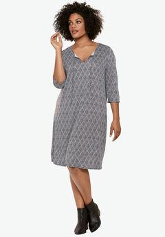 Keyhole Neck A-Line Dress by ellos®, NAVY DIAMOND PRINT