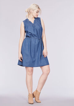 Sleeveless Belted Denim Dress by ellos®,