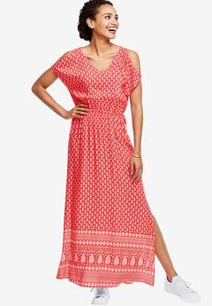 Border Print Maxi Dress by ellos®, NECTARINE PAISLEY PRINT