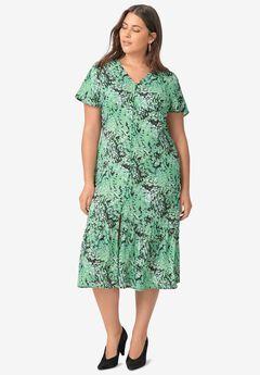 Button-Front Flounce Hem Dress,