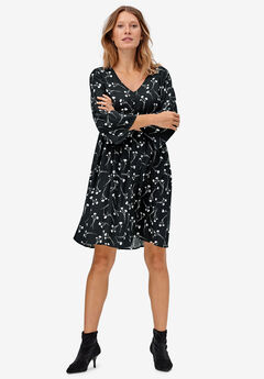 Bell-Sleeve Empire Waist Dress by ellos®, BLACK WHITE FLORAL