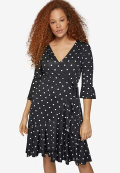 Ruffle Trim Wrap Dress,
