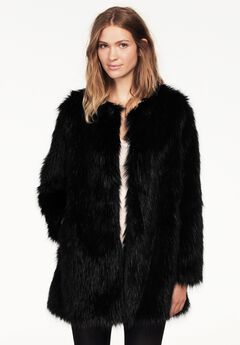 Faux Fur Snap Front Coat,