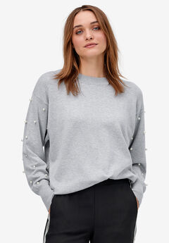 Pearl Trim Pullover Sweater by ellos®, HEATHER GREY