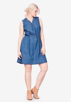 Sleeveless Belted Denim Dress by ellos®,