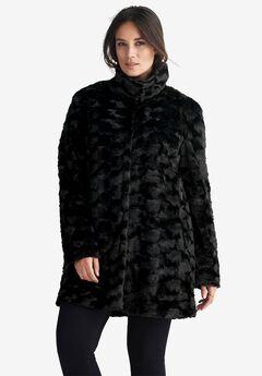 fa81b95a2af Funnel Neckline Faux Fur Coat by ellos®