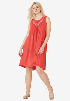 Crochet Inset Trapeze Dress by ellos®,