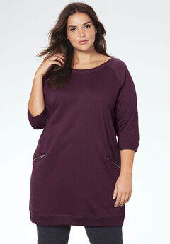 ab5fde6a95a French Terry Zip Pocket Tunic by ellos®