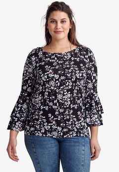 Tiered Bell Sleeve Tee by ellos®, BLACK WHITE FLORAL PRINT