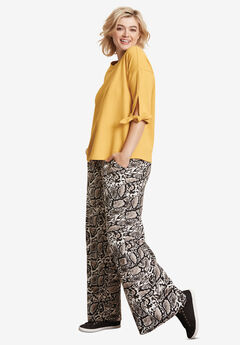 Wide-Leg Soft Pants by ellos®, REPTILE PRINT