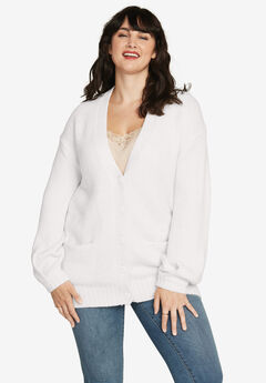 Soft Relaxed Button-Front Cardigan by ellos®, SOFT WHITE