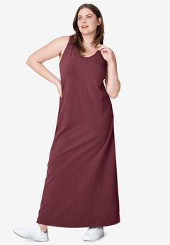 Sleeveless Knit Maxi Dress by ellos®, DEEP WINE