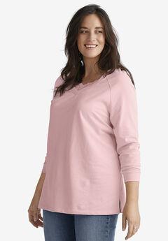 Lace-Trim V-Neck Sweatshirt by ellos®, MISTY ROSE