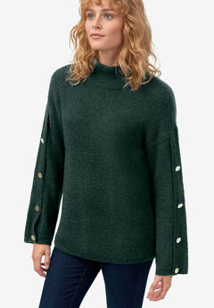 Bell-Sleeve Sweater by ellos®, DEEP EMERALD
