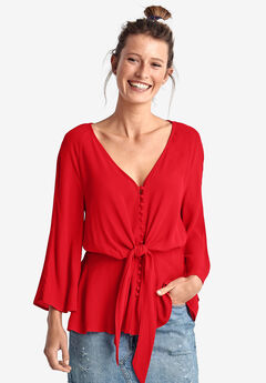 Tie-Front Blouse by ellos®, HOT RED