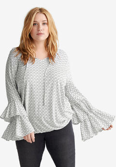 Tiered Flounce Sleeve Top by ellos®,