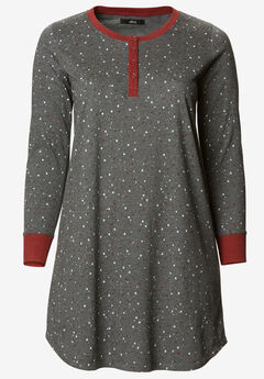 Long Sleeve Henley Sleepshirt by ellos®, HEATHER CHARCOAL STAR
