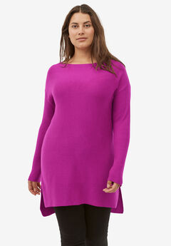 High/Low Pullover Sweater Tunic by ellos®, DEEP MAGENTA