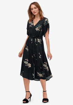 Keyhole-Back Button-Front Shirtdress by ellos®, BLACK FLORAL PRINT