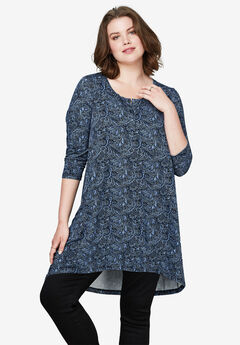 High/Low Henley Tunic by ellos®,