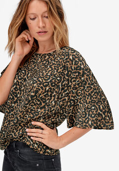 Relaxed Wide Sleeve Blouse by ellos®, ANIMAL PRINT